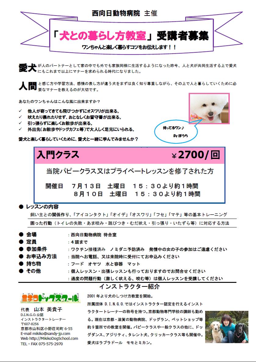 犬との暮らし方教室(7月・8月)開催のお知らせ