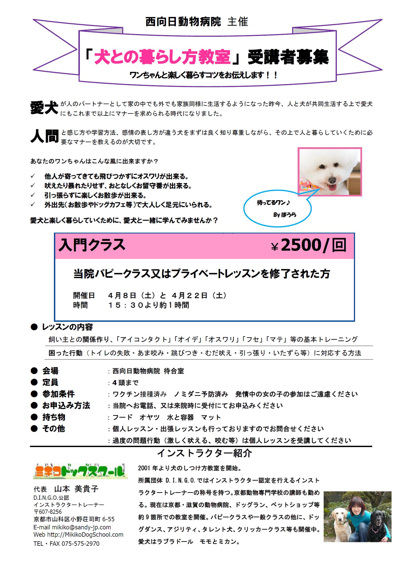 犬との暮らし方教室 4月開催のお知らせ